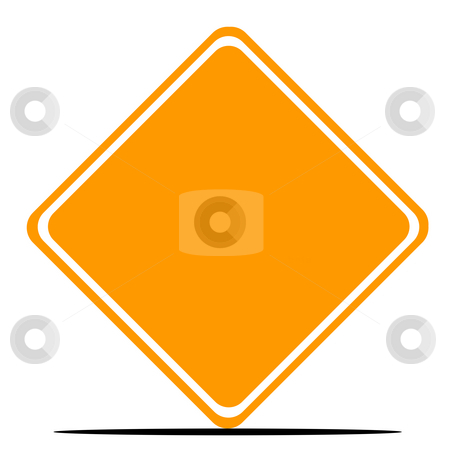 Blank orange diamond road sign stock photo, Blank orange diamond road sign isolated on white background. by Martin Crowdy