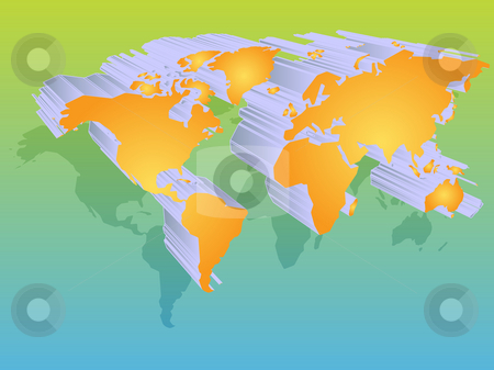 World map stock photo, Map of the world illustration, 3d effect by Kheng Guan Toh