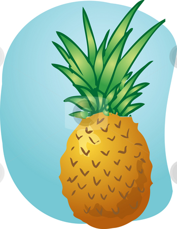 Pineapple fruit illustration stock photo, Sketch of pineapple fruit. Hand-drawn lineart look illustration by Kheng Guan Toh