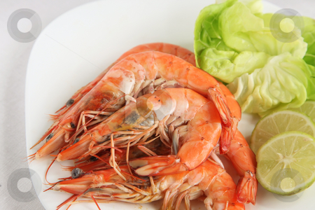 Whole cooked prawns stock photo, Whole cooked prawns by Kheng Guan Toh
