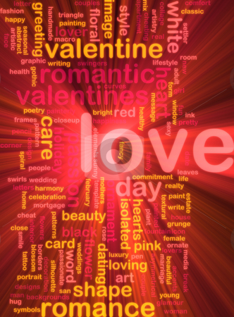 Love word cloud glowing stock photo, Word cloud concept illustration of love romance glowing light effect by Kheng Guan Toh