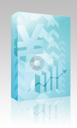 Yen success illustration box package stock photo, Software package box Abstract financial success illustration with Yen currency by Kheng Guan Toh