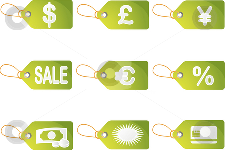 Shopping discount labels stock photo, Shopping sales labels with promotion discount icons by Kheng Guan Toh