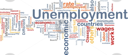 Unemployment word cloud stock photo, Word cloud concept illustration of unemployment work by Kheng Guan Toh