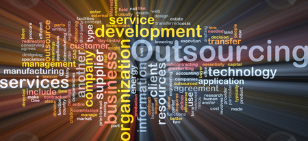 Outsourcing  word cloud box package stock photo, Word cloud concept illustration of business outsourcing by Kheng Guan Toh