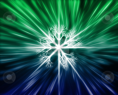 Snowflake illustration stock photo, Snowflake crystal pattern illustration, glowing light flares by Kheng Guan Toh