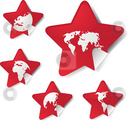 World map stickers stock photo, World map icons on star sticker shapes by Kheng Guan Toh