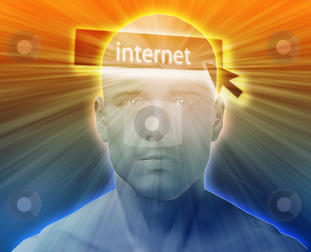Thinking about internet stock photo, Man thinking about internet clicking,floating over head by Kheng Guan Toh