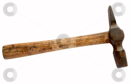 Rusty old hammer tool isolated over white. stock photo, Rusty old hammer tool isolated over white. by Stephen Rees