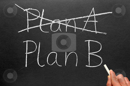 Crossing out Plan A and writing Plan B on a blackboard. stock photo, Crossing out Plan A and writing Plan B on a blackboard. by Stephen Rees