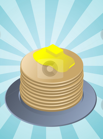 Stack of pancakes stock photo, Stack of pancakes, breakfast fllapjacks on blue plate by Kheng Guan Toh