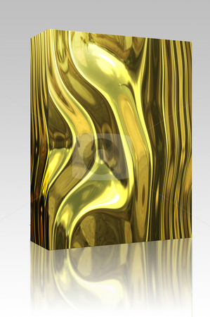 Warped metal box package stock photo, Software package box Warped reflective chromed metal surface texture background by Kheng Guan Toh