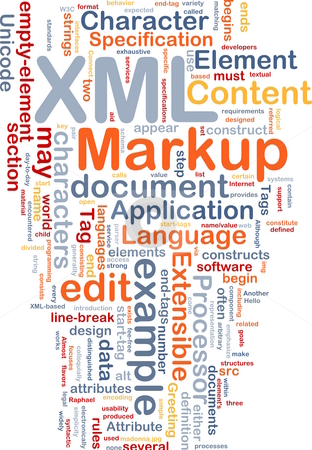 XML word cloud stock photo, Word cloud concept illustration of XML markup language by Kheng Guan Toh