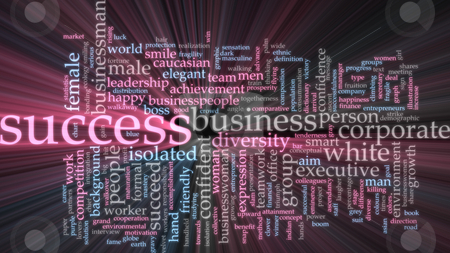 Success word cloud glowing stock photo, Word cloud concept illustration of business success glowing light effect by Kheng Guan Toh