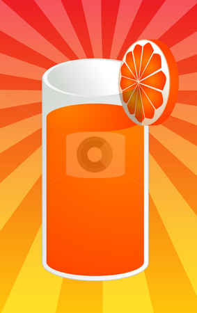 Orange juice illustration stock photo, Glass of orange juice with orange slice, illustration by Kheng Guan Toh