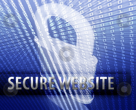 Online security stock photo, Online computer security illustration with locked padlock by Kheng Guan Toh