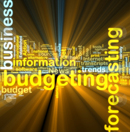 Budgeting wordcloud glowing stock photo, Word cloud tags concept illustration of financial budgeting glowing light effect by Kheng Guan Toh