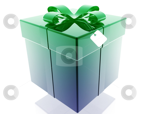 Fancy present stock photo, Wrapped fancy present illustration glossy metal style isolated by Kheng Guan Toh