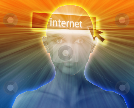 Thinking about internet stock photo, Woman thinking about internet clicking,floating over head by Kheng Guan Toh