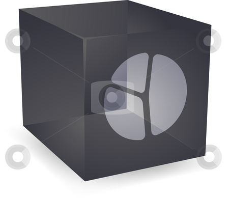 Pie chart cube icon stock photo, Pie chart icon on translucent cube shape illustration by Kheng Guan Toh