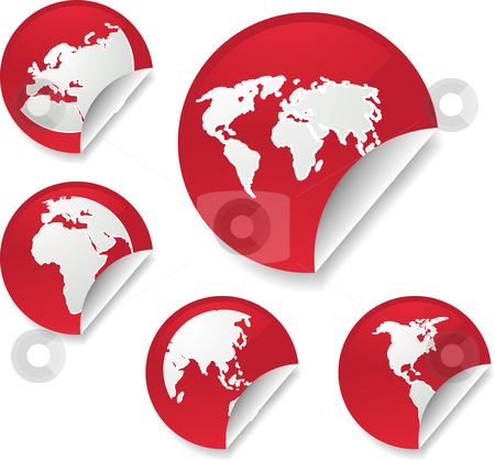 World map stickers stock photo, World map icons on round sticker shapes by Kheng Guan Toh
