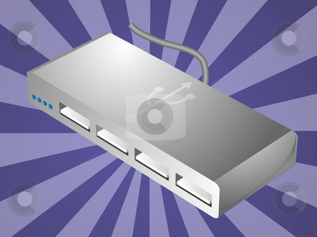 USB hub illustration stock photo, Computer USB hub peripheral hardware device illustration by Kheng Guan Toh