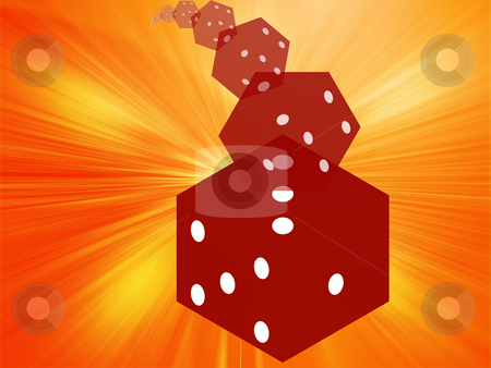 Rolling red dice illustration stock photo, Illustration of translucent rolling red dice showing gambling by Kheng Guan Toh
