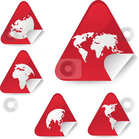 World map stickers stock photo, World map icons on triangle sticker shapes by Kheng Guan Toh