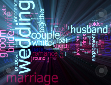 Wedding word cloud glowing stock photo, Word cloud concept illustration of wedding marriage glowing light effect by Kheng Guan Toh