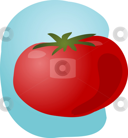 Tomato illustration stock photo, Sketch of a tomato. Hand-drawn lineart look illustration by Kheng Guan Toh