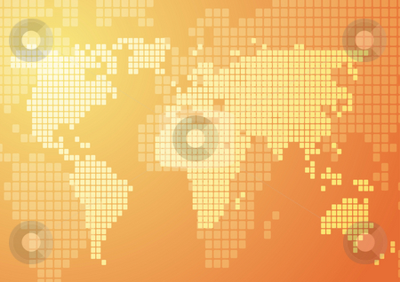 World map mosaic stock photo, Abstract illustration of world map in mosaic style by Kheng Guan Toh