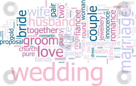 Wedding word cloud stock photo, Word cloud concept illustration of wedding marriage by Kheng Guan Toh