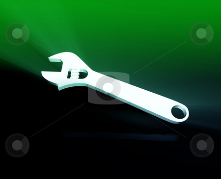 Wrench repair tool stock photo, Monkey wrench repair tool shiny glowing illustration by Kheng Guan Toh