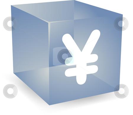 Yen cube icon stock photo, Japanese yen icon on translucent cube shape illustration by Kheng Guan Toh