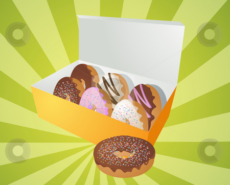 Box of donuts illustration stock photo, Box of assorted donuts illustration on radial burst by Kheng Guan Toh