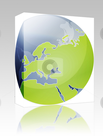 Map of Eurpe on globe  illustration box package stock photo, Software package box Map of the Europe, on a spherical globe, cartographical illustration by Kheng Guan Toh