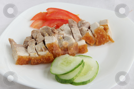 Chinese roast pork stock photo, Chinese roast pork with crispy skin, sliced on plate by Kheng Guan Toh