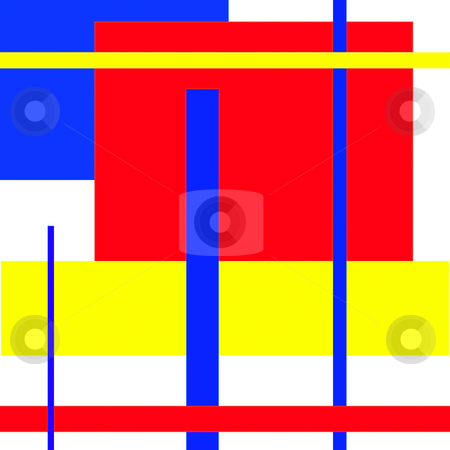 Mondrian type abstract art stock photo, Mondrian type art work deals with geometric abstract by CHERYL LAFOND