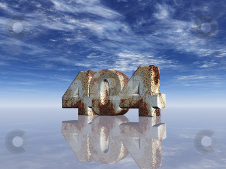 Error 404 stock photo, Rusty metal 404 under cloudy blue sky - 3d illustration by J?