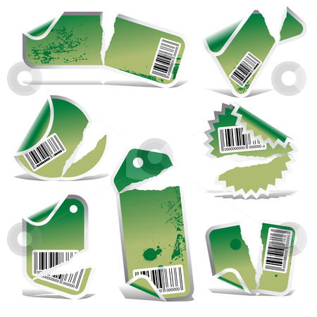 Green vector stickers stock vector clipart,  by ojal_2