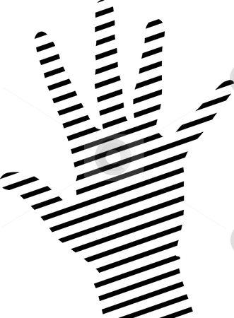 Hand stock vector clipart, Simple hand silhouette made from lines by ojal_2