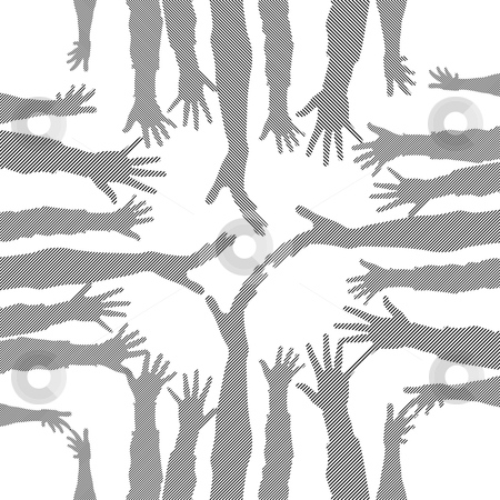 Hands stock vector clipart, Party hand silhouettes made from lines by ojal_2