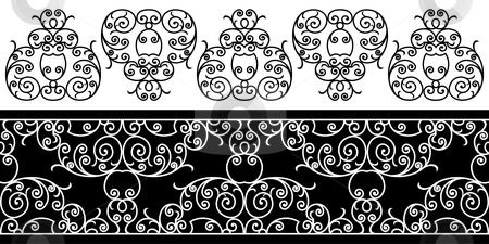 Wrought iron elements stock vector clipart, Wrought iron elements - repeating left to right (vector) by ojal_2