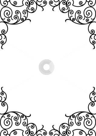 Wrought iron frame stock vector clipart, Wrought iron elements - vector illustration by ojal_2