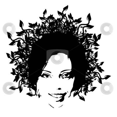 Floral woman face stock vector clipart, Floral woman face - vector illustration by ojal_2