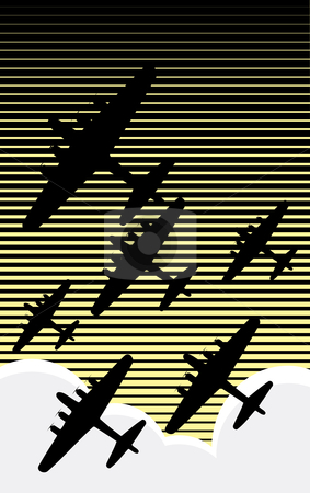 Night Raid stock vector clipart, Fleet of World War II bombers against an evening sky retro poster style. by Jeffrey Thompson