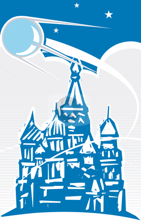Sputnik over Red Square stock vector clipart, Sputnik flying over Red Square in retro poster style.russia by Jeffrey Thompson