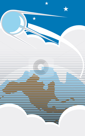 Sputnik Flight stock vector clipart, Sputnik flying over the USA with clouds in retro poster style. by Jeffrey Thompson