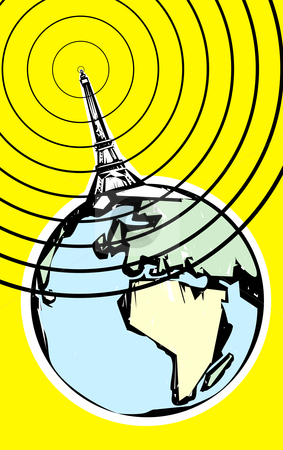 Radio Signal stock vector clipart, Radio signal going out into space in retro soviet poster style. by Jeffrey Thompson