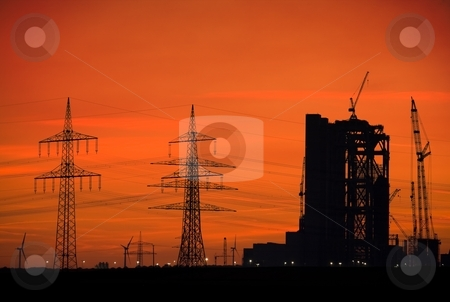 Power plant skyline stock photo, Power plant, power lines and wind turbines at sunset by Interlight